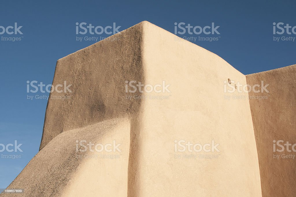 Abstract of San Francisco de Asis Mission Church in NM stock photo