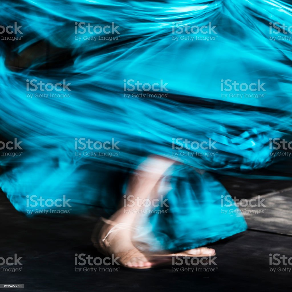 Abstract of traditional dancer with motion blur stock photo