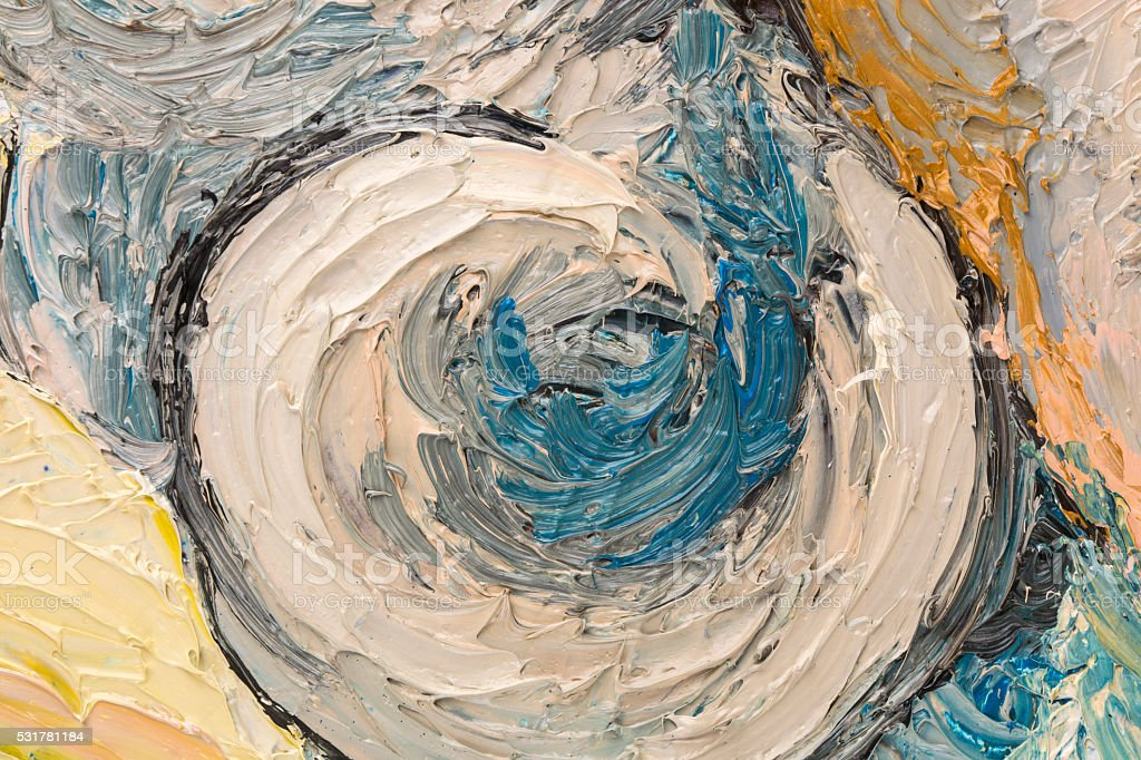 Abstract oil painting of circles. stock photo