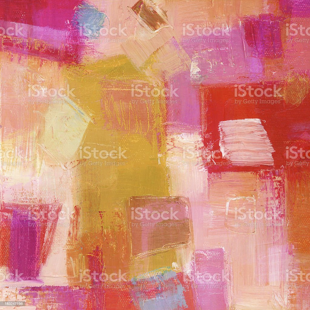 Abstract Oil Painting with Red and Pink royalty-free stock vector art