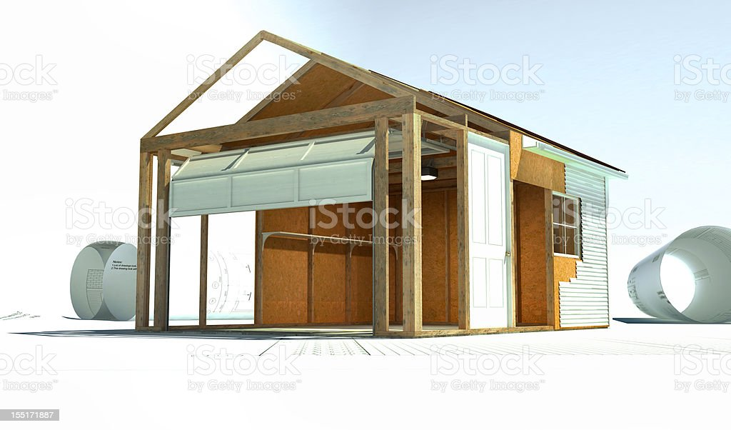 Abstract Old Building Renovation vector art illustration