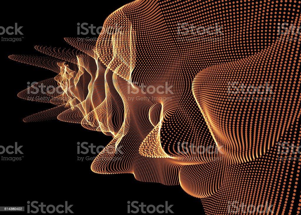 Abstract orange digital mesh on black background stock photo