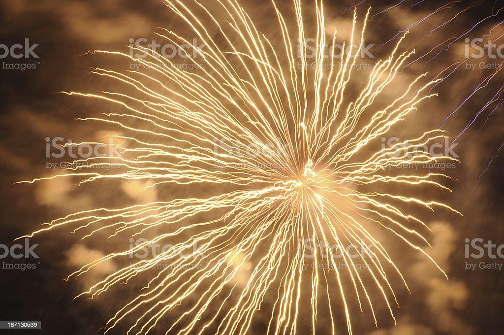 Abstract orange fireworks royalty-free stock photo