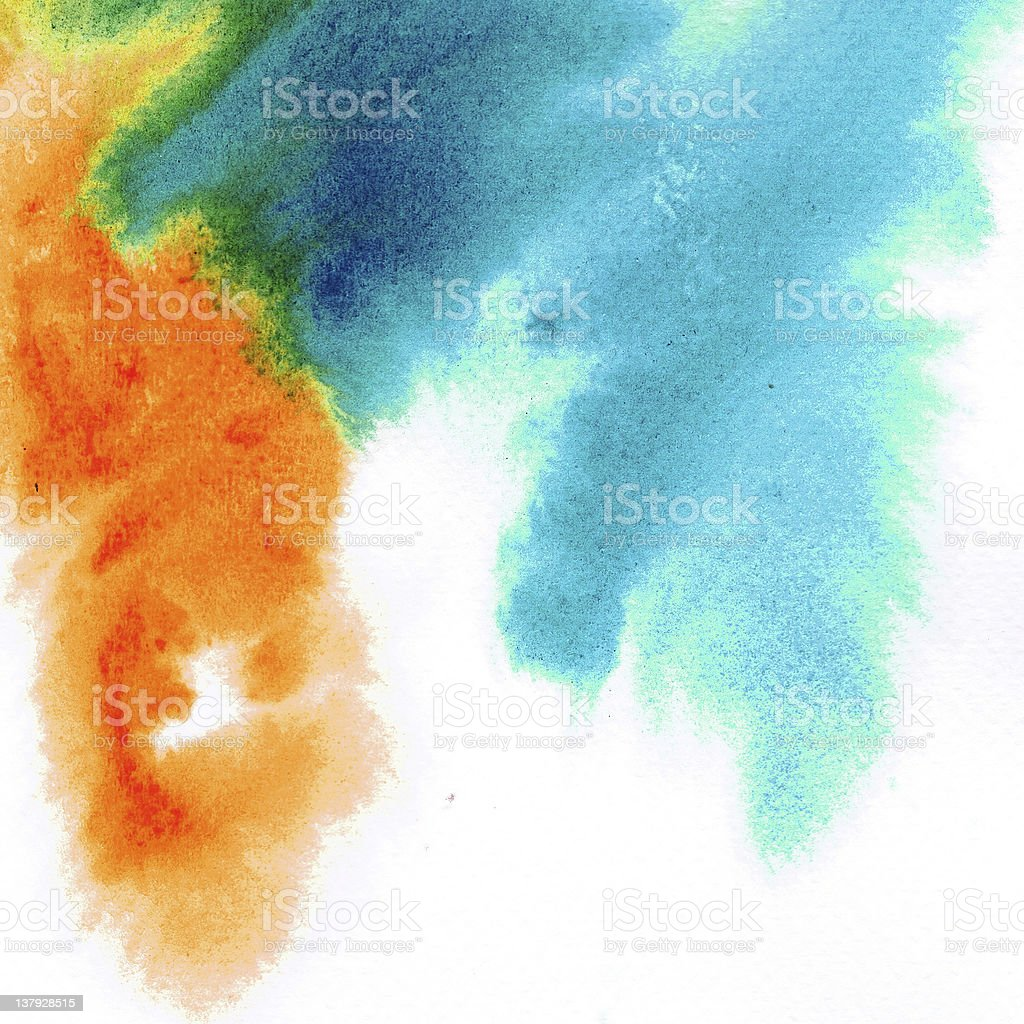 Abstract orange mix blue watercolors royalty-free stock photo