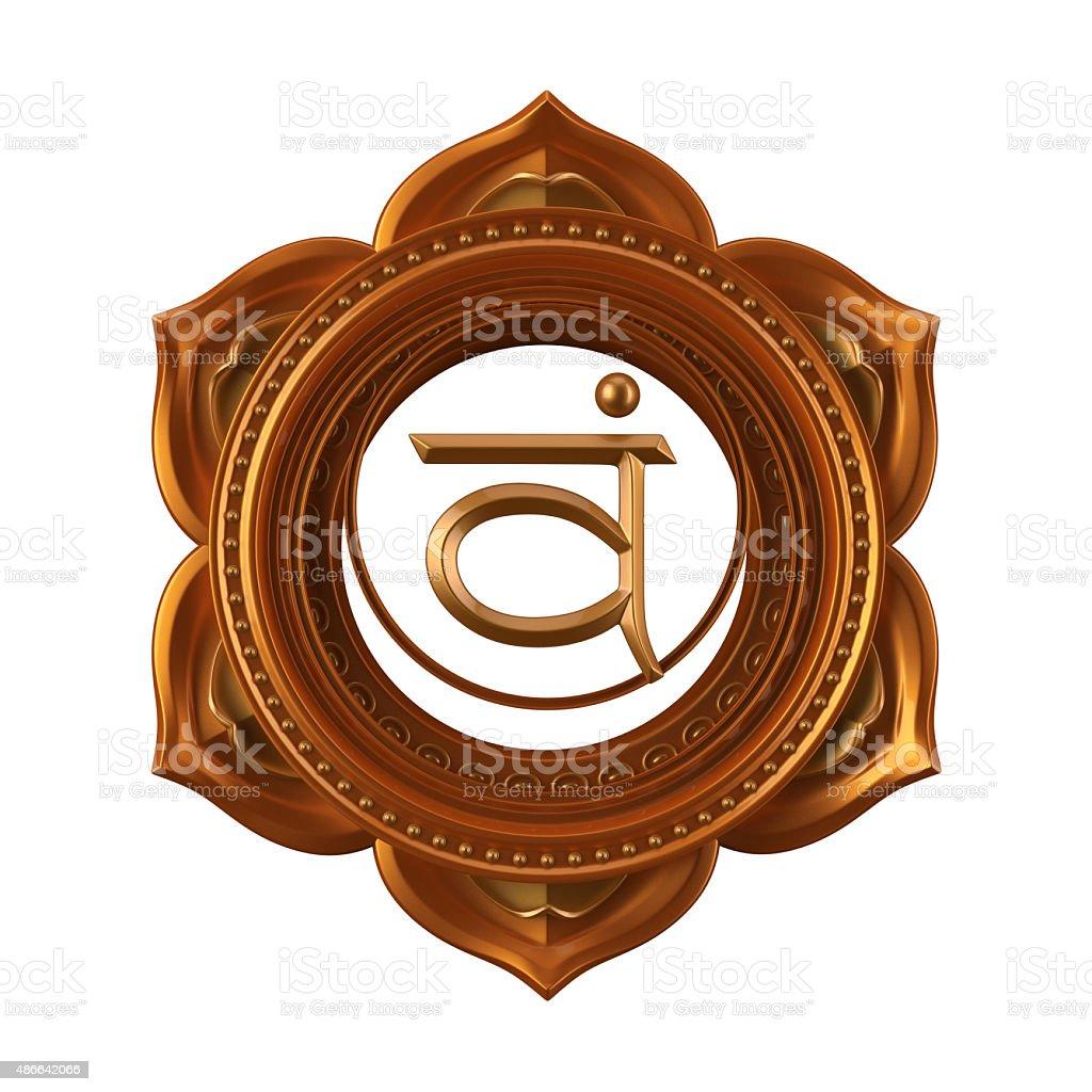 abstract orange Swadhisthana chakra symbol, 3d modern illustrati stock photo