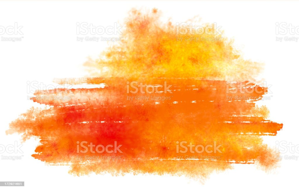 Abstract, orange watercolor painting stock photo