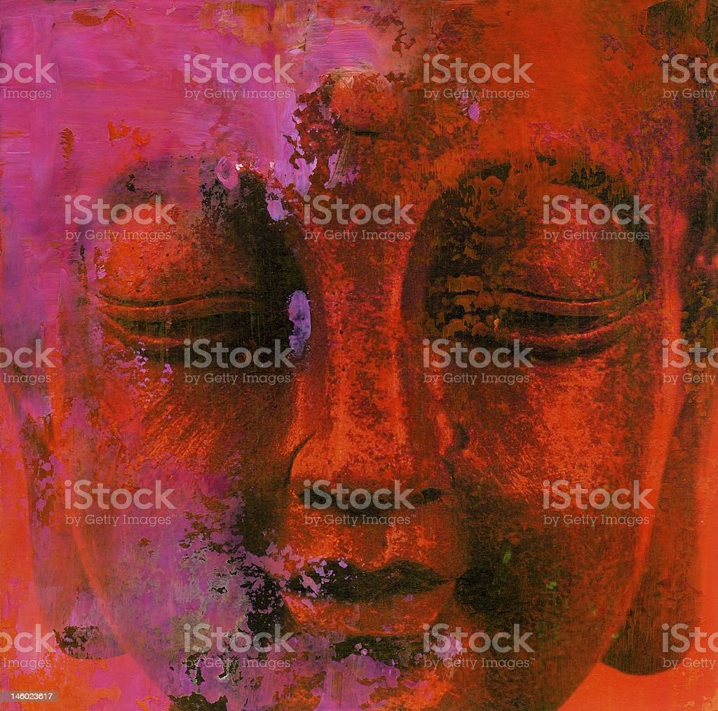 Abstract painted Background with detail of Buddha Face stock photo