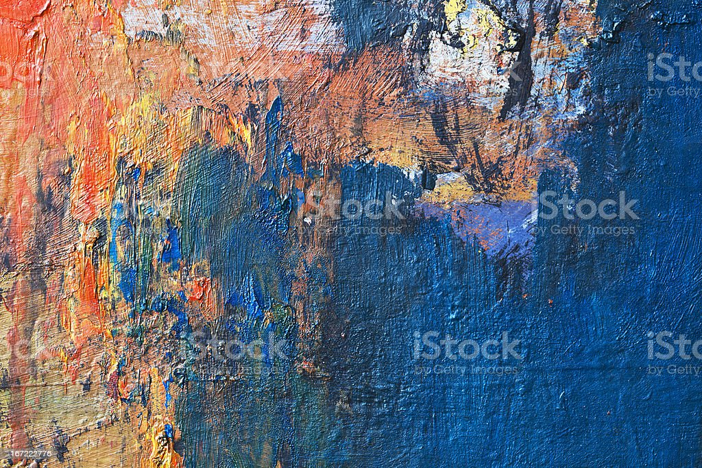 Abstract painted blue and orange  art backgrounds. royalty-free stock photo