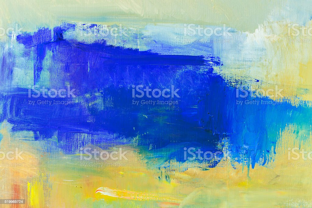 Abstract painted blue and yellow art backgrounds. stock photo