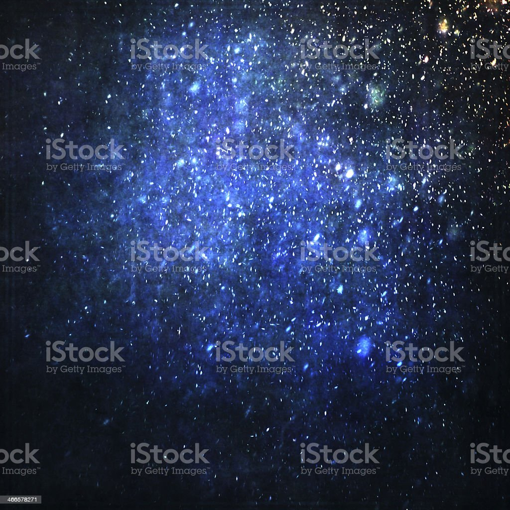 Abstract painted blue background with falling snow stock photo