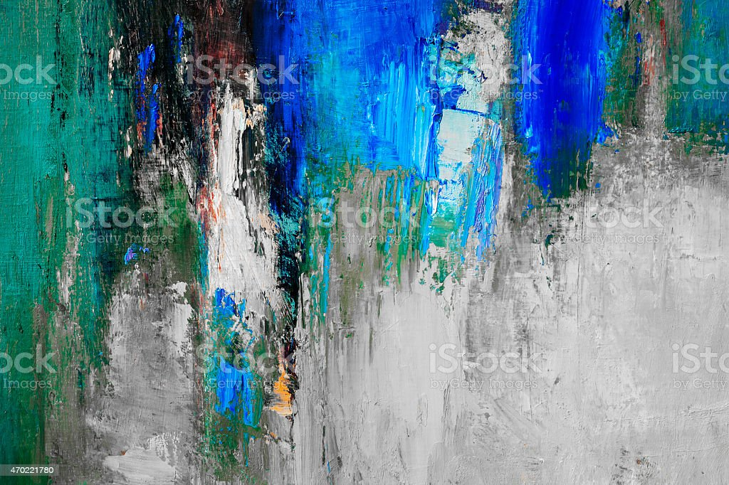 Abstract painted blue  green and gray textured  art backgrounds. stock photo