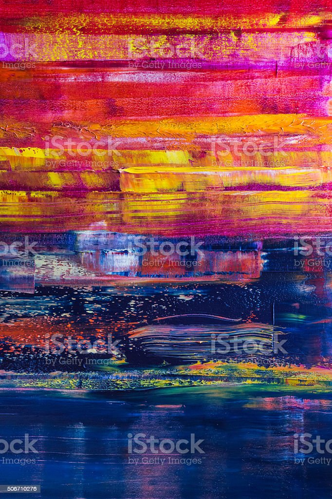 Abstract painted canvas. Oil paints on a palette stock photo