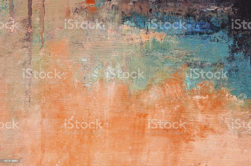 Abstract painted green and orange  art backgrounds. stock photo