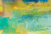 Abstract painted green and yellow art backgrounds.