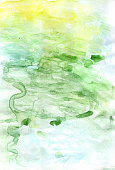 Abstract painted green colorful watercolor background