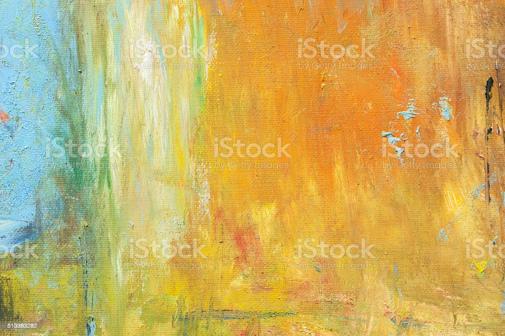Abstract painted orange and blue art backgrounds. stock photo