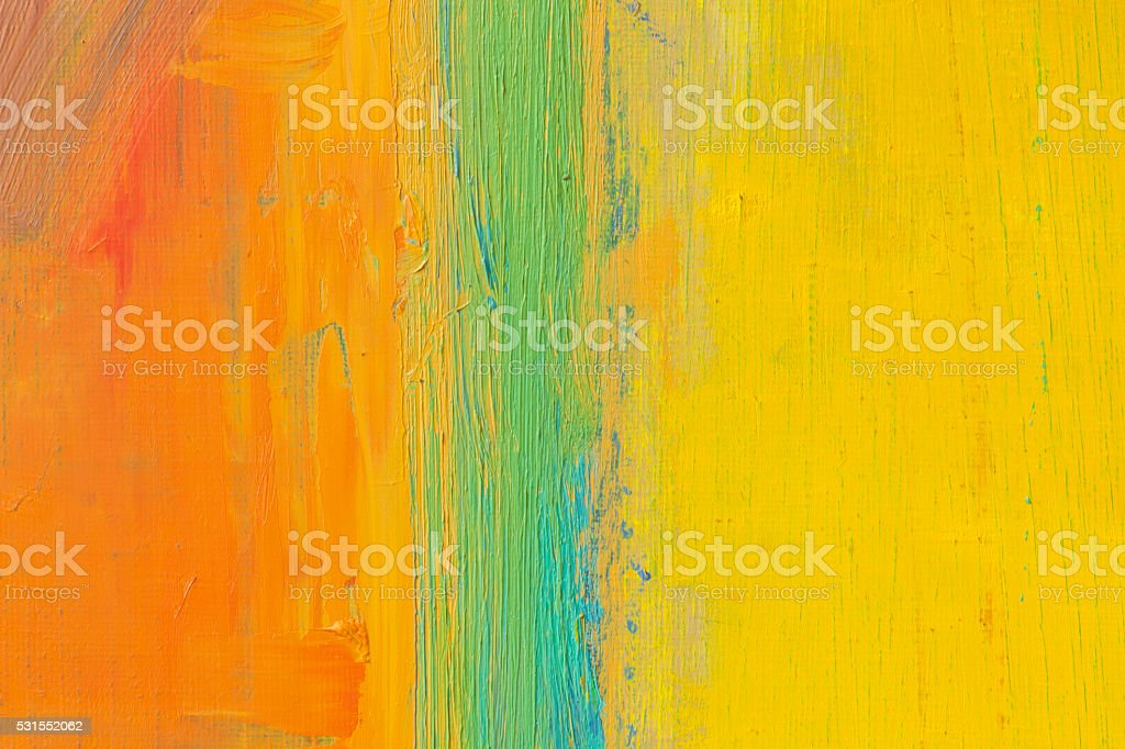 Abstract painted orange green and yellow art backgrounds. stock photo