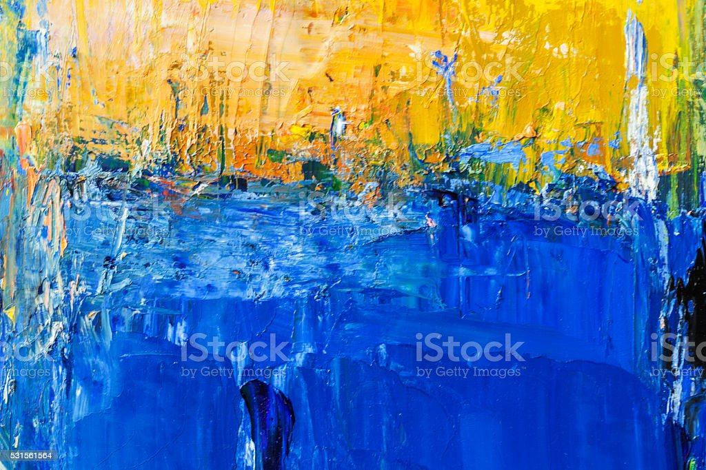 Abstract painted yellow and blue art backgrounds. stock photo