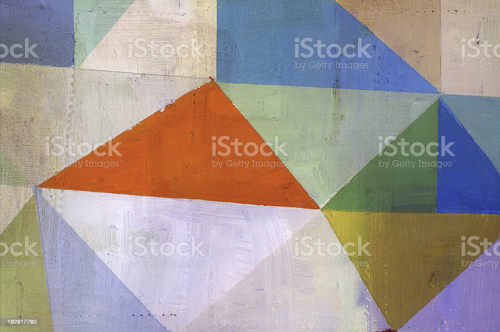 Abstract painting consisting of colorful triangles vector art illustration