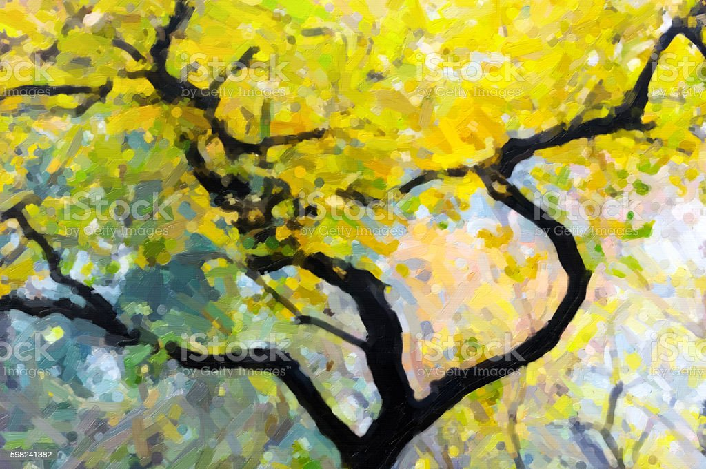 Abstract painting for forest stock photo