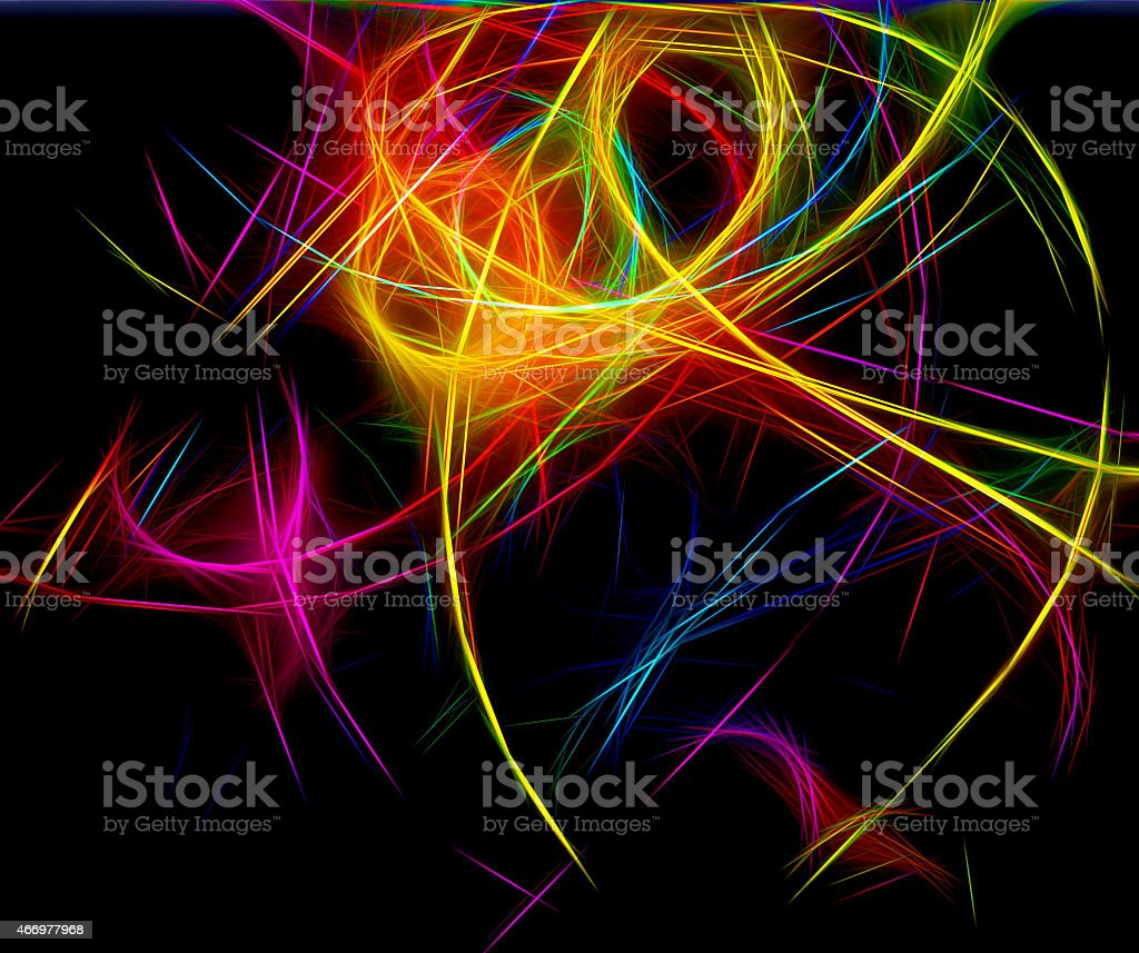 Abstract painting of neon lights stock photo