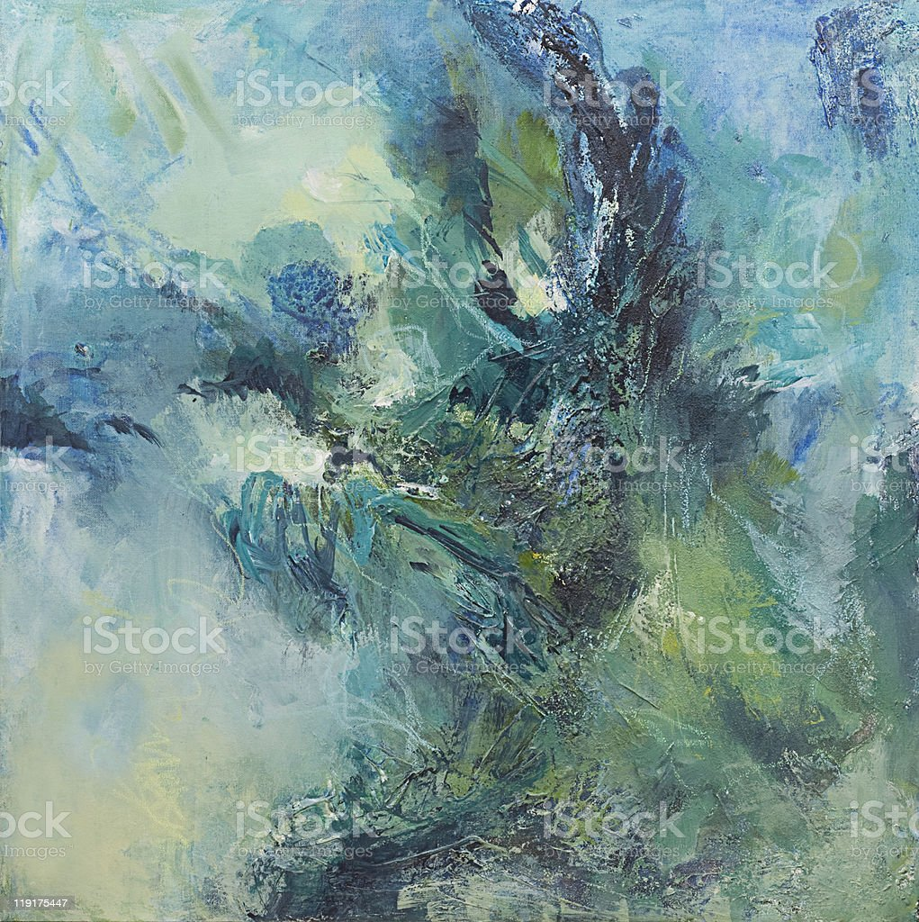 Abstract painting with dramatic greens and blues stock photo
