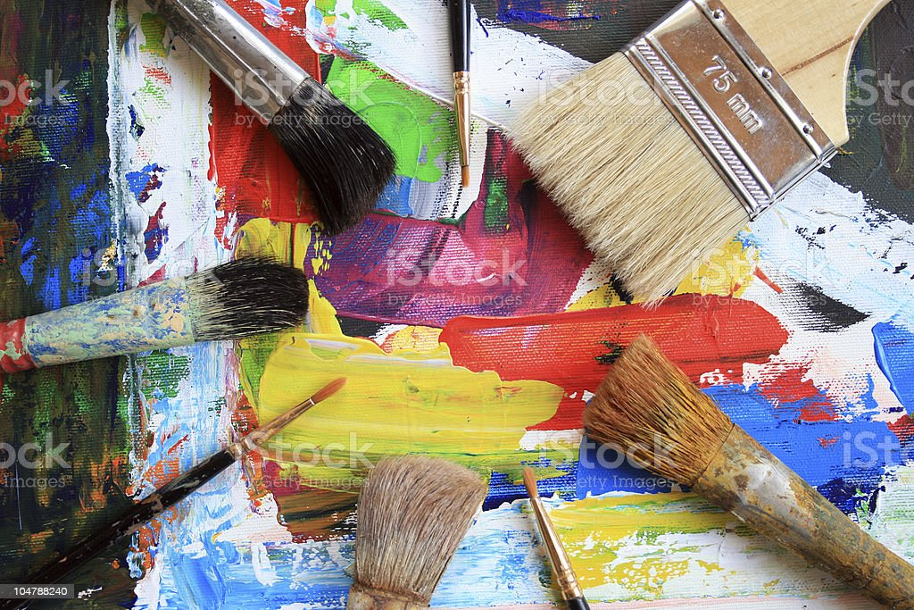 Abstract painting with five brushes royalty-free stock photo