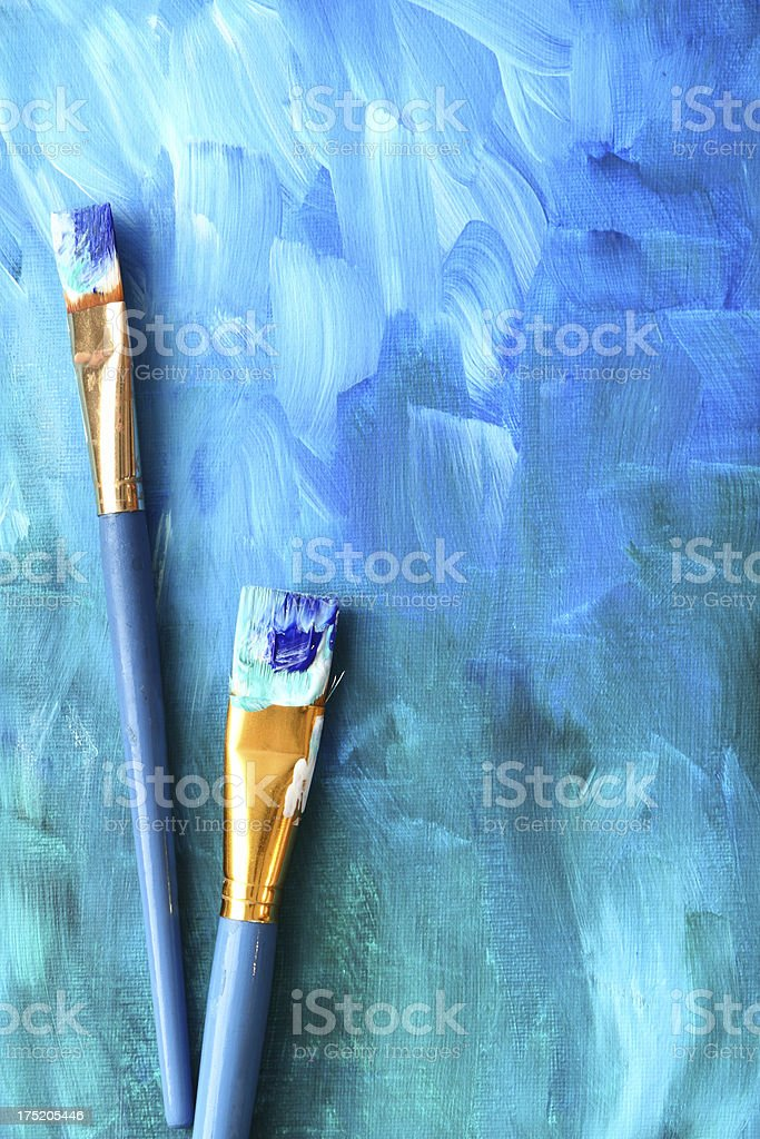 Abstract painting with paint brushes royalty-free stock photo