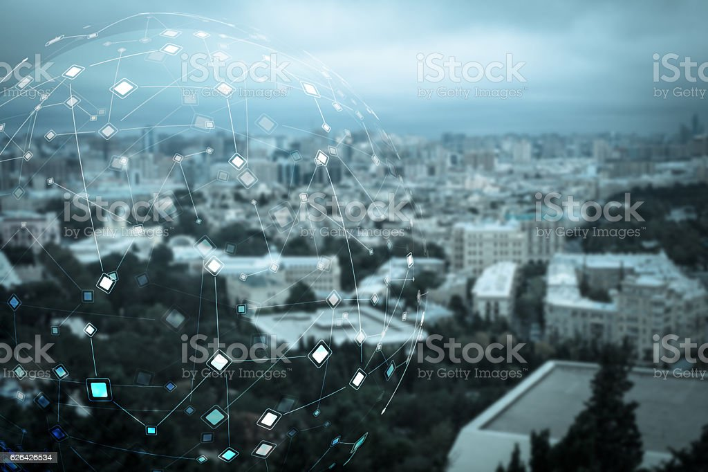 Abstract particle structure stock photo