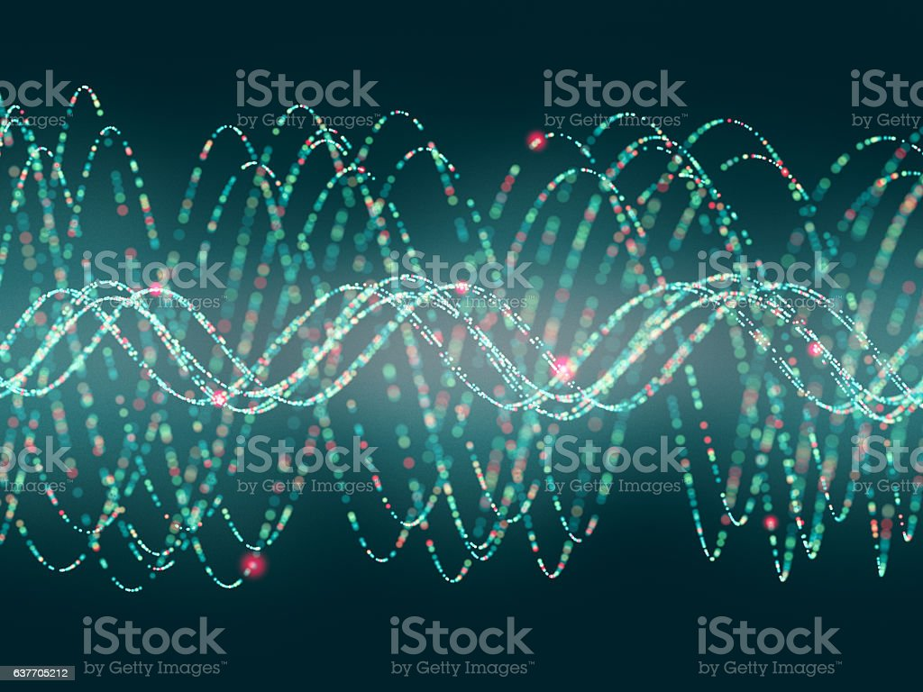 Abstract particle waves stock photo