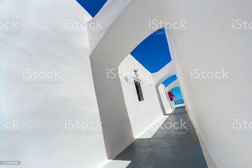 Abstract Passage at Old Monastery Hallway Santorini, Greece stock photo