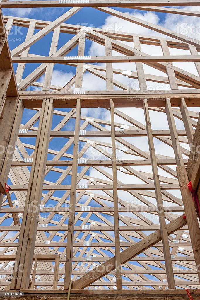 Abstract pattern formed by the rafters of a contruction project royalty-free stock photo