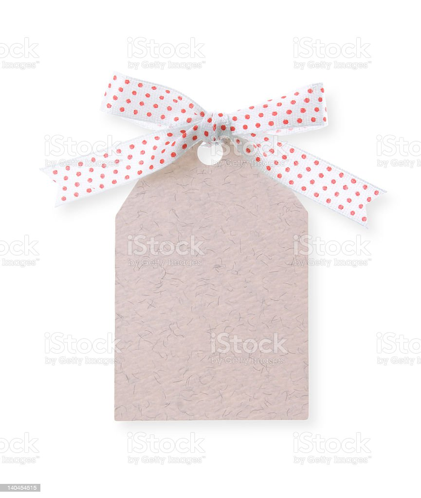 abstract pattern gift tag with red dot ribbon(with clipping path) royalty-free stock photo