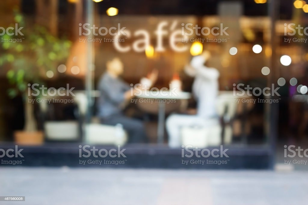 Abstract people in coffee shop and text cafe of mirror stock photo