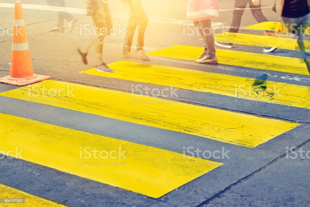 Abstract people on zebra crossing street, soft focus stock photo