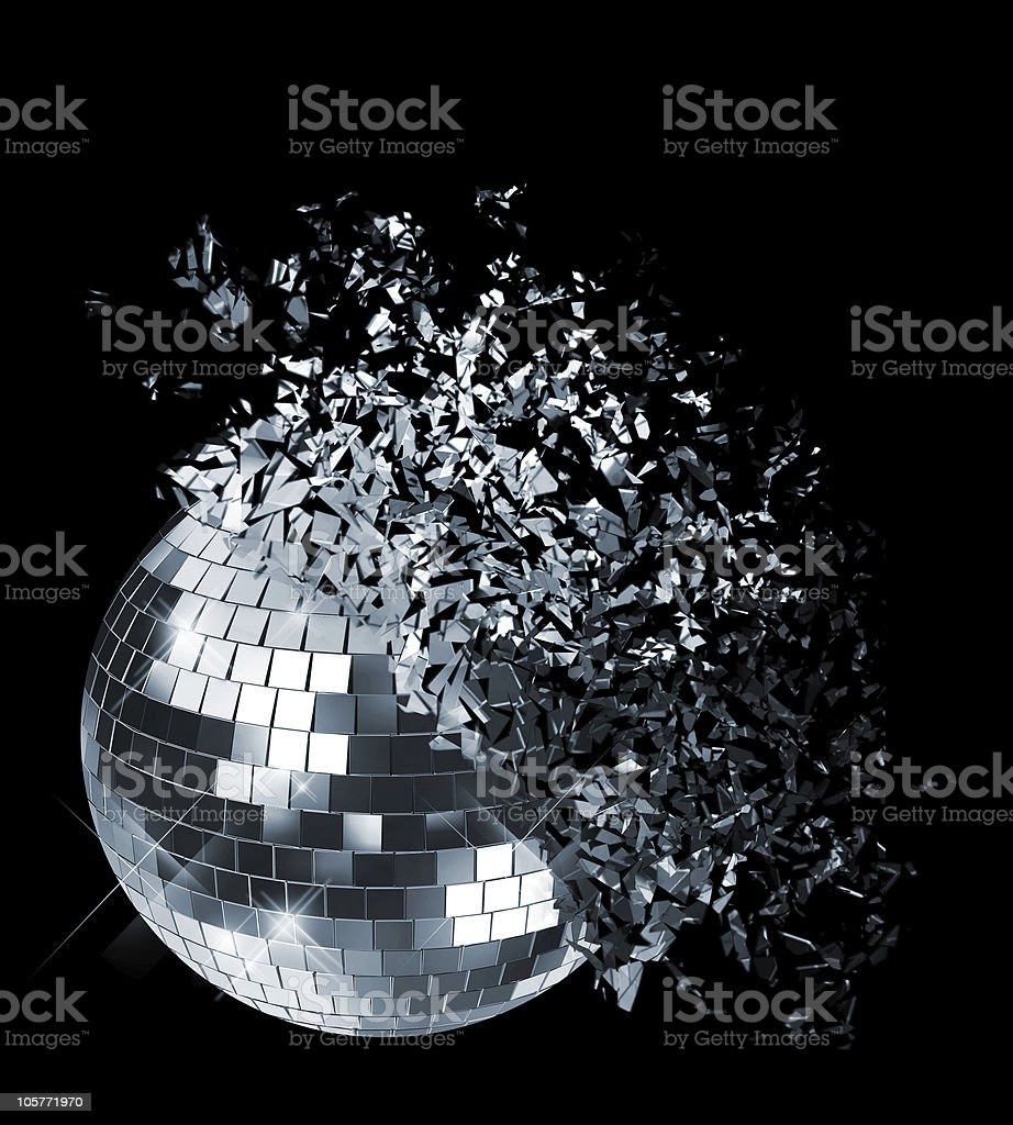 Abstract photo of disco ball shattering stock photo