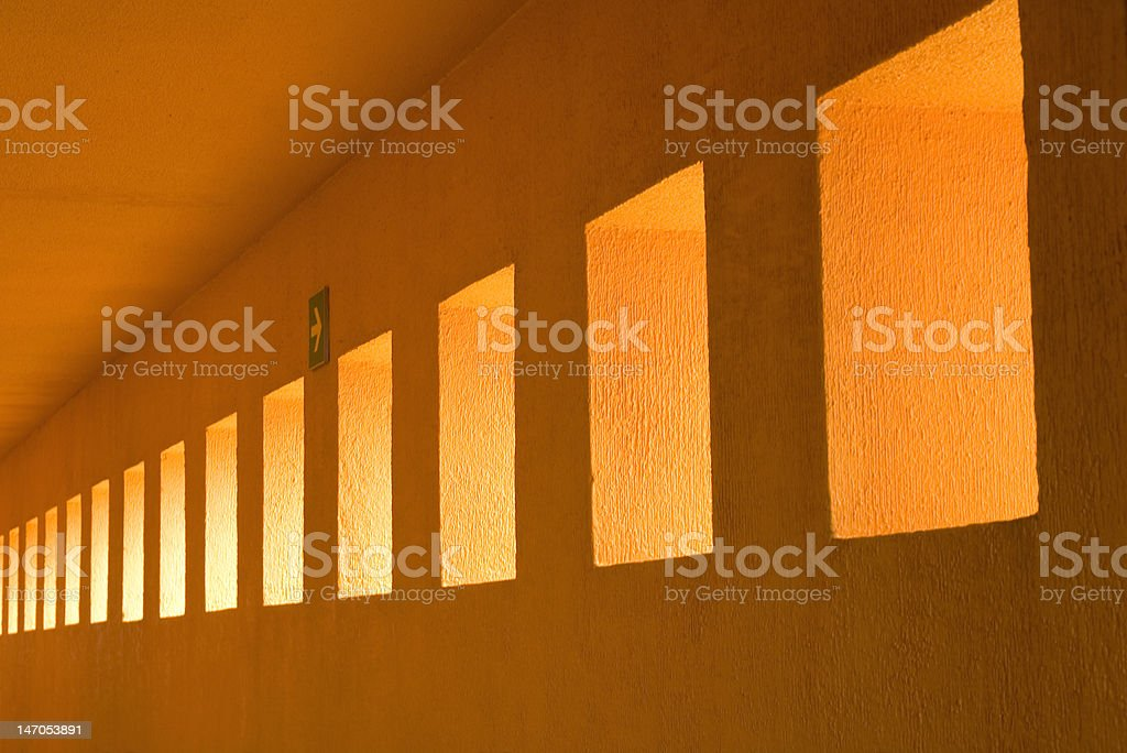 Abstract photograph leading to vanishing point on Portico. royalty-free stock photo
