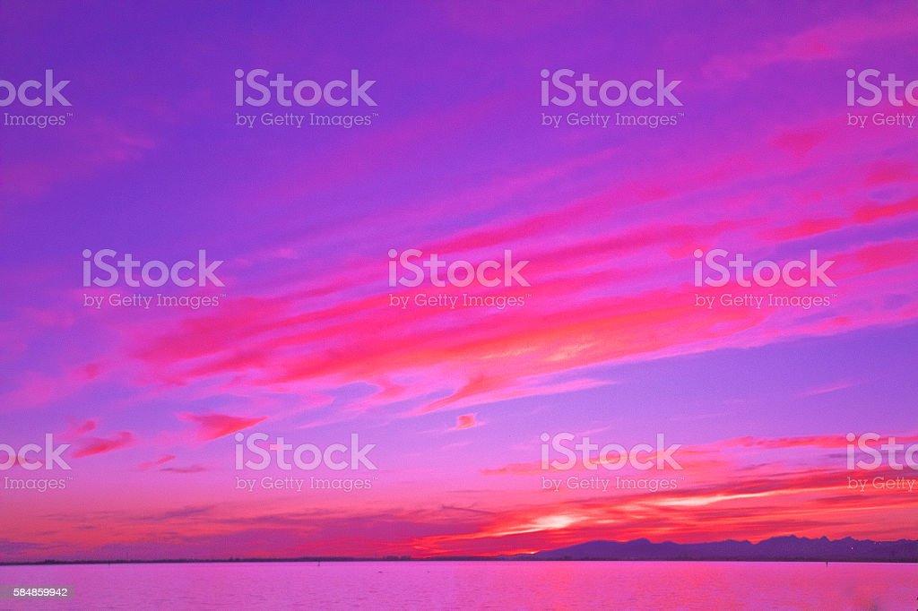 Abstract pink purple sunset stock photo