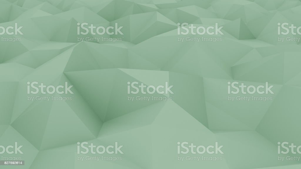 Abstract polygonal green background. 3D rendering stock photo