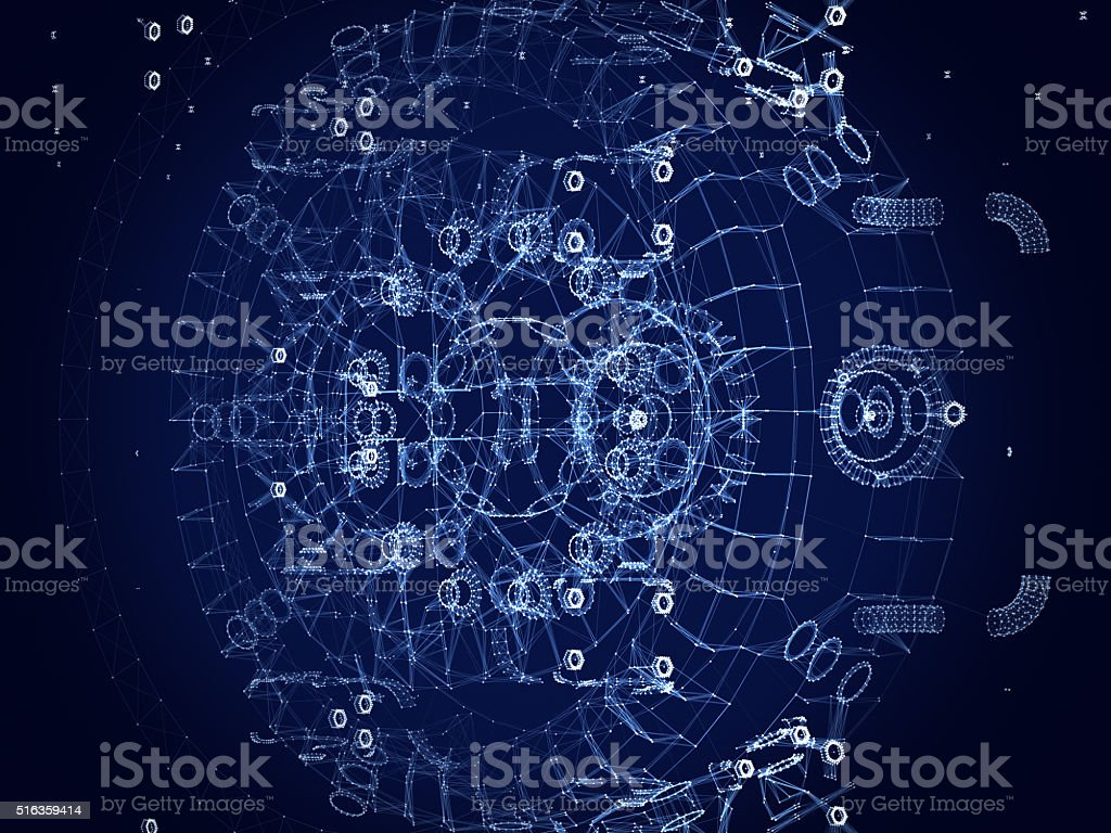 Abstract polygonal space .Engine structure stock photo