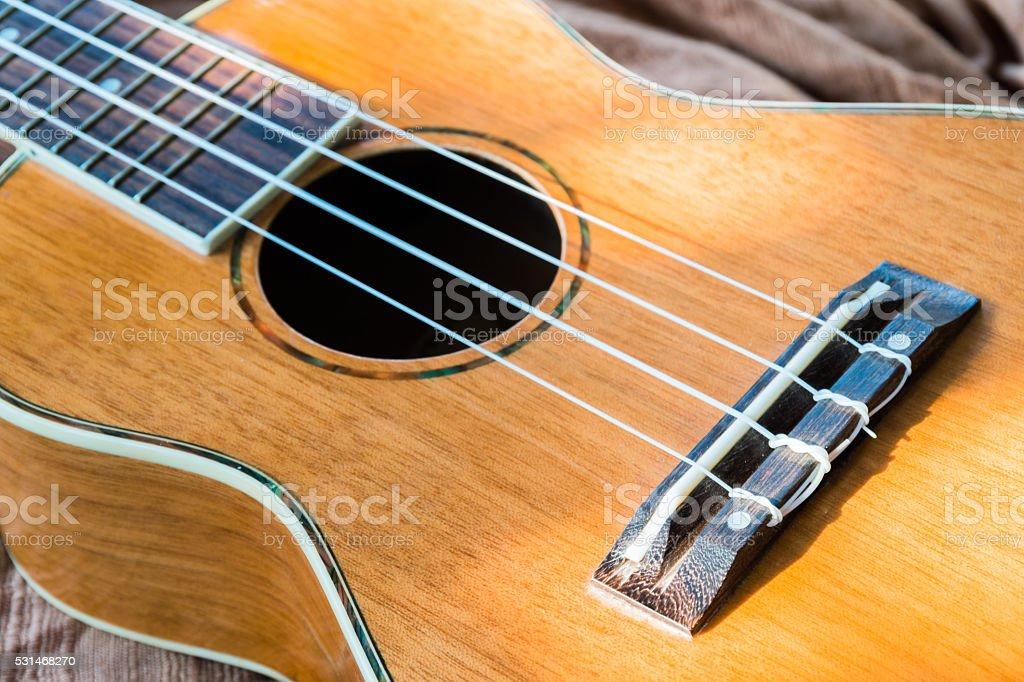 , Resumo Retrato de um ukulele em uma textura de fundo foto royalty-free