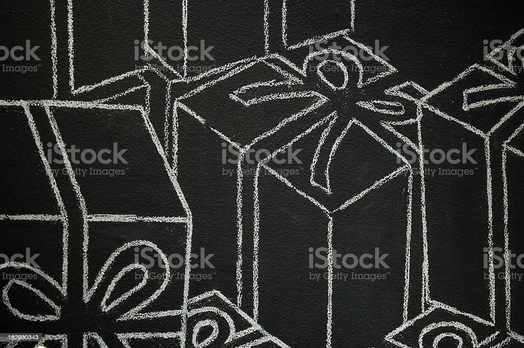 Abstract Presents in Chalk on Chalkboard royalty-free stock photo