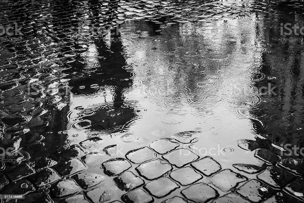 Abstract puddle. Scenes from Rome at Easter stock photo