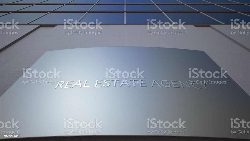 Abstract real estate agency signage board. Modern office building. 3D rendering stock photo