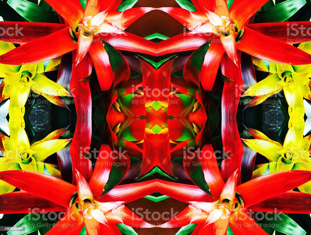 Abstract red and yellow flower kaleidoscope background stock photo