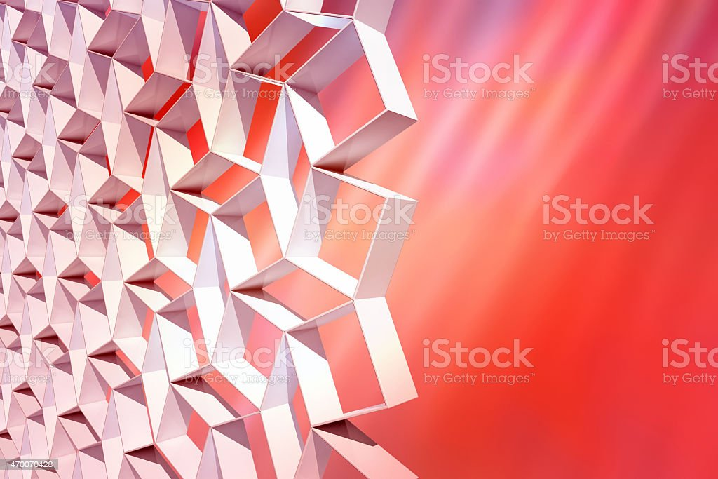 Abstract red background with a grid of 3D white shapes vector art illustration