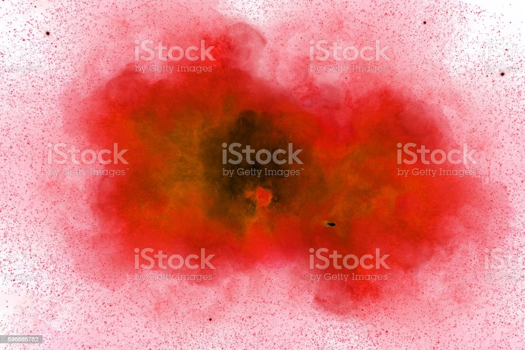 Abstract, red explosion of fire against white background stock photo