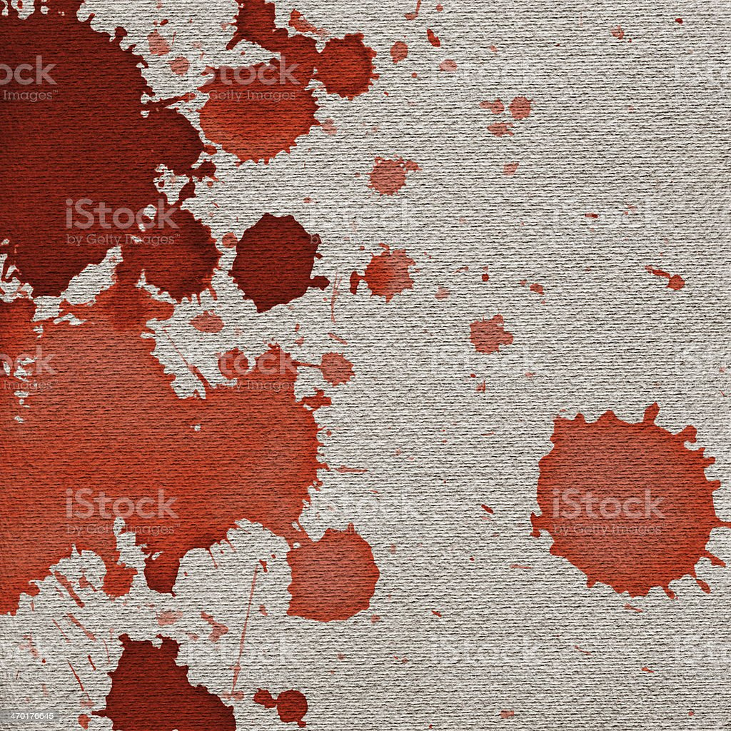 Abstract Red Ink Spatters Composition on Coarse Watercolor Paper royalty-free stock photo