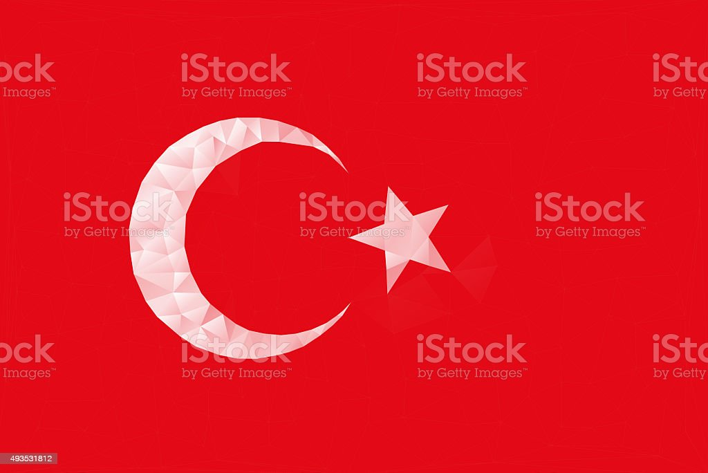abstract red lowpoly background TURKEY flag stock photo