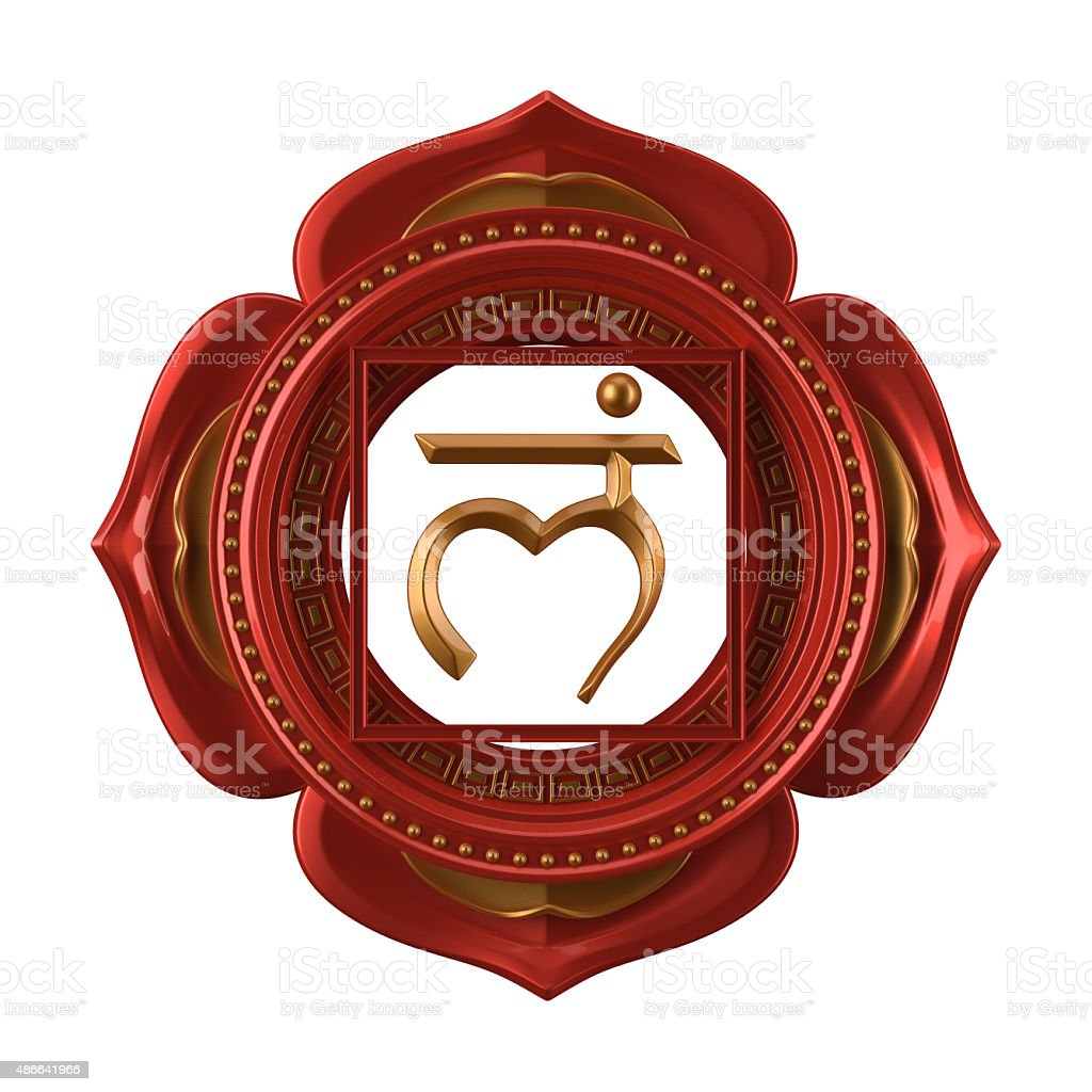 abstract red Muladhara chakra symbol, 3d modern illustration stock photo
